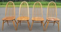 Set of Four Light Ercol Stickback Kitchen Dining Chairs